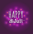 diwali festival poster with hand lettering vector image vector image