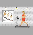 fat girl on a treadmillfitness club vector image vector image