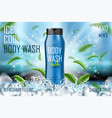 frozen men body wash gel with mint leaves and ice vector image vector image