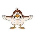 funny cartoon sparrow with wings widely spreading vector image vector image
