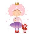 funny little princess with a teddy bear vector image