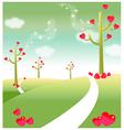 Green landscape heart shape vector image vector image
