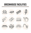 greenhouse facilities isolated hand drawn doodles vector image