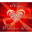 Greeting card with heart in red vs vector image vector image