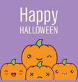 halloween card with kawaii pumpkins vector image vector image
