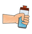hand human with water bottle gym icon vector image