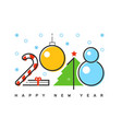 happy 2018 new year flat thin line horizontal vector image vector image