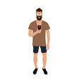 hipster man making selfie cartoon character with vector image