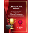 ice hockey certificate diploma with golden cup vector image