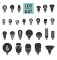 led light e27 bulbs silhouette icon set vector image vector image