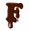 Letter F from latin alphabet made of chocolate vector image