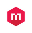 letter m logo red hexagon icon flat design style vector image