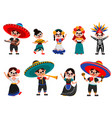 mexican skeleton party set vector image