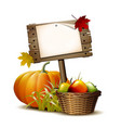 old wooden banner with orange pumpkin autumnal vector image vector image