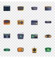 radio icon set cartoon style vector image vector image