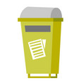 rubbish bin for paper waste vector image vector image