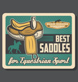 saddles equestrian sport equipment retro vector image