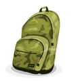 schoolbag with camouflage patterns vector image vector image