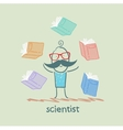 scientist with books around vector image vector image