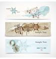 Sea horizontal nautical design banners set vector image vector image