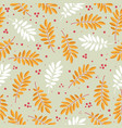 seamless pattern with rowan leaves and red dots vector image vector image