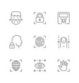 set line icons biometry vector image vector image