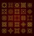 set of golden decorative calligraphic ornaments vector image