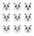 set with sweet panda bear emotion faces vector image vector image