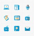 six colorful flat education icons set on white vector image