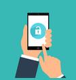 smartphone lock screen hand hold smartphone vector image vector image