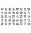 social project icons set outline style vector image vector image