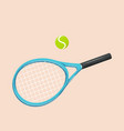 stylized tennis racquet with ball isolated vector image