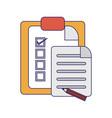 tasks on clipboard blue lines vector image vector image