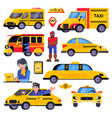 taxi taxicab transport driver man character vector image