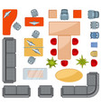 top view interior furniture icons flat vector image vector image