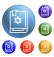 torah book icons set vector image