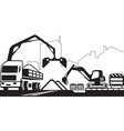 truck crane and excavator repair a street vector image vector image
