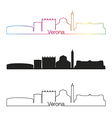 verona skyline linear style with rainbow vector image vector image