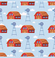 red farm house seamless pattern design vector image