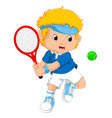 young boy playing tennis with a racket vector image