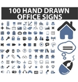 100 simple hand drawn signs vector image vector image