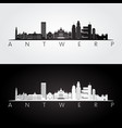 antwerp skyline and landmarks silhouette black vector image vector image