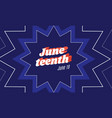 banner devoted to juneteenth annual usa holiday vector image vector image