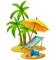 beach scene with chair and umbrella vector image vector image