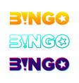 Bingo typography lottery retro glowing lettering
