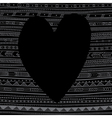 black heart on ethnic pattern background vector image