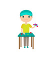 boy building toy house or tower from lego blocks vector image