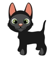 Cartoon black cat with green eyes pets vector image vector image