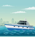 color background city landscape with boat over vector image