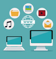 color background of devices laptop and display vector image vector image